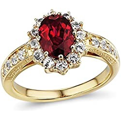 Lab Created Ruby and White Sapphire Halo Ring in 10k Yellow Gold