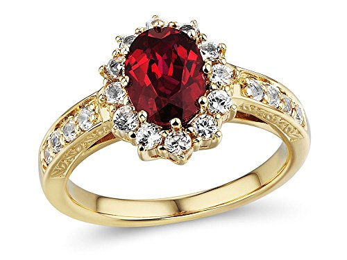 10k Yellow Gold Diamond Ruby - 10k Yellow Gold Lab Created Ruby Ring with Lab Created White Sapphire Halo Filigree Engraving - Ring Size 7