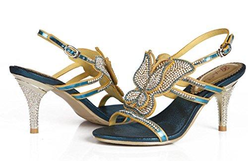 YCMDM New Spring tacco alto donne di sandali di sera del diamante scarpe da sposa singoli pattini , blue , 36