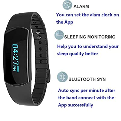 Honcuby Waterproof Fitness Tracker Smart Band with Multi-Functions Activity Tracker Smart Bracelet Watch for IOS7.0+ and Android 4.3+(black)