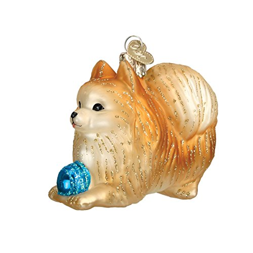 Old World Christmas Glass Blown Ornament with S-Hook and Gift Box, Dog Collection (Pomeranian [Playing]) Pomeranian Baseball