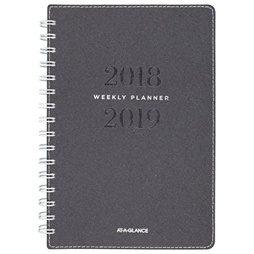 (AT-A-GLANCE 2018-2019 Academic Year Weekly & Monthly Planner, Small, 5-3/4 x 8-1/2, Signature Collection, Heather Gray (YP200A45))