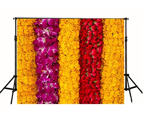 Yellow Purple Red Flowers Wall Photography Backdrops Beautiful Floral Photo Studio Backgrounds Wallpaper Muslin Fabric Printed Booth Photos Shoot Props