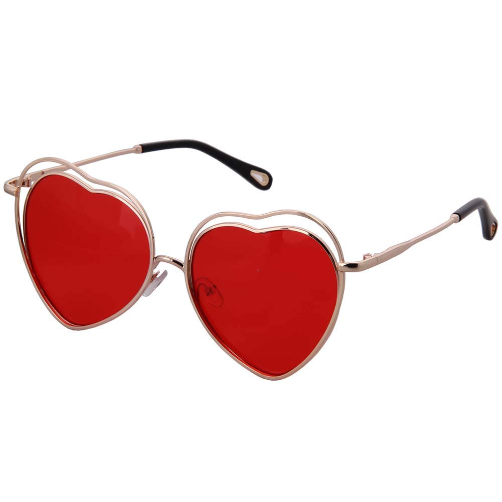 OGOBVCK Love Heart Sunglasses Candy Color One Piece Eyewear with Metal Frame
