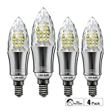 HzSane E14 LED Candle Bulbs 12W, 100W Incandescent Bulbs Equivalent, 6500K Daylight White Candelabra E14 SES Bulbs, Non-Dimmable, 1200Lm, LED Light Bulb, Small Edison Screw Candle Light Bulbs, Crystal housing, 4-Pack