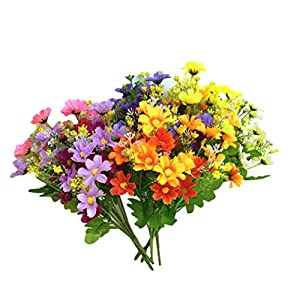 VORCOOL 6 Pcs Artificial Daisy Bouquet Silk Simulation Flowers Potted Plant for Dining Table Decor 70