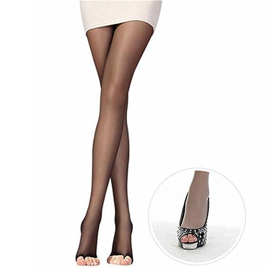 Bjduck99 Women Sexy Sheer Slim Stretchy Open Toe Pantyhose Thigh High Stocking Black