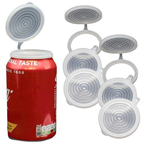 Soda Can Covers 6 Pack Fizz Lids for Soda Cans, Soft Drinks and Diet Soda. Pop Protector Can Lids Prevents Soft Pop, Keeps Soda Fizzy and Reduces Spills. Easy Clip on Lids to Keep Fresh and Fizzy -