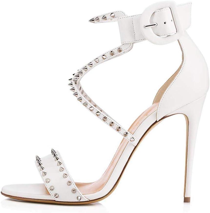 女性用スティレットホワイトリベットサンダル結婚式の靴ファッションハイヒール宴会靴、ヒールの高さスーパーハイヒール(8CM以上)