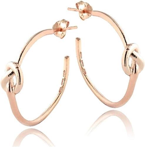 Rose Gold Tone over Sterling Silver Polished Love Knot Bangle Bracelet
