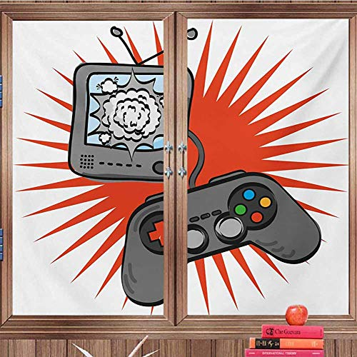 DearestLove Frosted windowfilm Boys Room,Video Games Themed Design in Retro Style Gamepad -