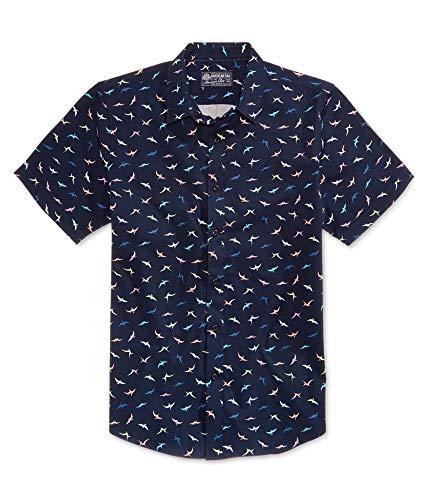 American Rag Mens Mini Dino Button Up Shirt, Blue, Medium
