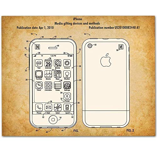 iPhone - 11x14 Unframed Patent Print - Makes a Great Gift Under $15 for Steve Jobs Fans (Iphone 4s Best Operating System)