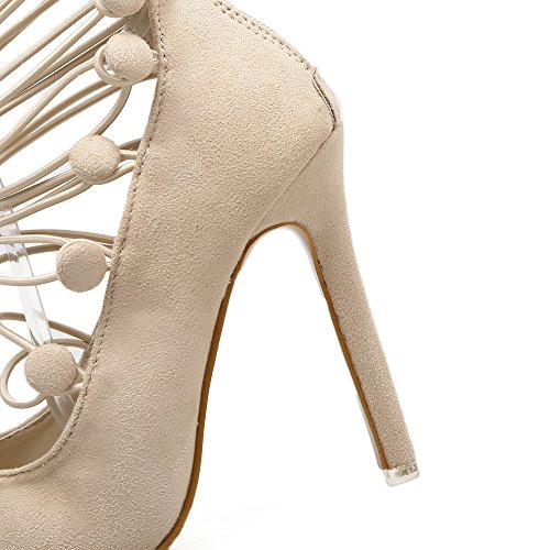 romano scarpe ZHZNVX donne Alta con calzature pesce ultra chiusura bocca scarpe apricot singole tacco sandali vR8Bv