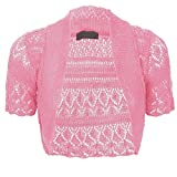 ASBAHFASHION Women's Short Sleeve Crochet Knitted Bolero Shrug BABY PINK ML 12-14