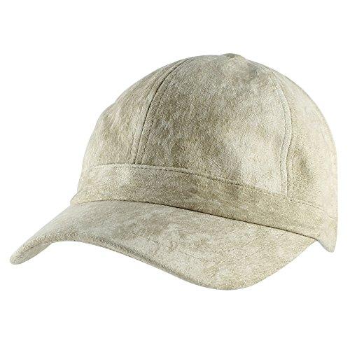 (Morehats Faux Suede Short Bill Cotton Cadet Baseball Cap Hat - Beige)