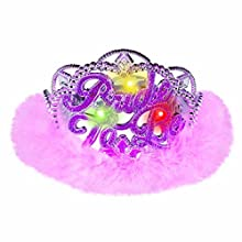 "A Night to Remember Bachelorette Party Bride to Be Flashing Light Tiara Accessory, 5"" x 5"" x 3""."