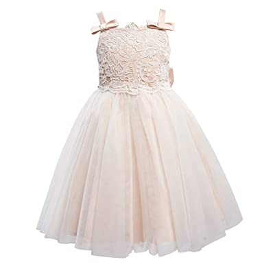 467b1be9aa5 Miama Lace Tulle Straps with Bow Wedding Flower Girl Dress Junior  Bridesmaid Dress Pink