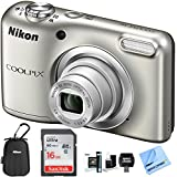 Nikon COOLPIX A10 16.1MP 5x Zoom NIKKOR Glass Lens Digital Camera (26518B) Silver - (Certified Refurbished) (Nikon COOLPIX A10 Value Bundle)