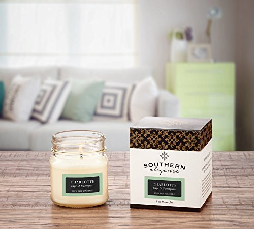 Charlotte: Sage and Sweetgrass Scented Soy Candle 8oz Mason Jar Southern Destination Collections Southern Elegance Candles