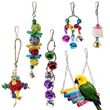 SODIAL Birds Toys Hanging Hammock Bell Swing Chewing Toys for Parrots, Parakeet, Conure, Cockatiel, Mynah, Love Birds Small Parakeet Cages Decorative Accessories