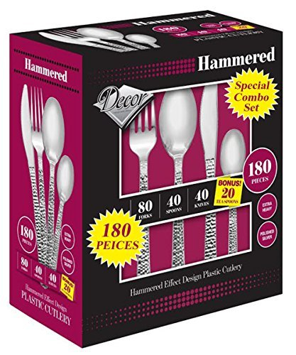buyNsave Heavy Weight Plastic Elegant Disposable Silverware, Forks, Spoons, Knives, Tea Spoons, Combo Box 180 Peices Hammered -