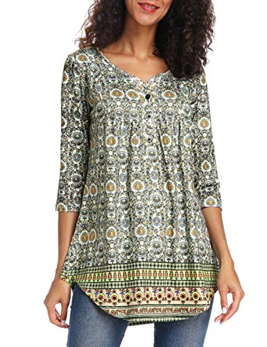 Acloth Women Paisley Henley Tunic Top Pleated Long 3/4 Sleeve Flared Blouse V Neck (3/4 Sleeve Yellow, XXX-Large)