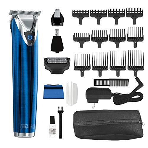 Wahl Stainless Steel Lithium Ion 2.0+ Slate Beard Trimmer for Men - Electric Shaver, Nose ear trimmer, Rechargeable All In One Men's Grooming Kit - model 9864B