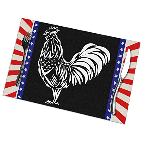 Skirt6chmas Rooster Silhouette Placemats Kitchen Table Mats for The Hotel Decoration,Heat-Resistant Dining Table Place Mats (Set of 6 12x18in) ()