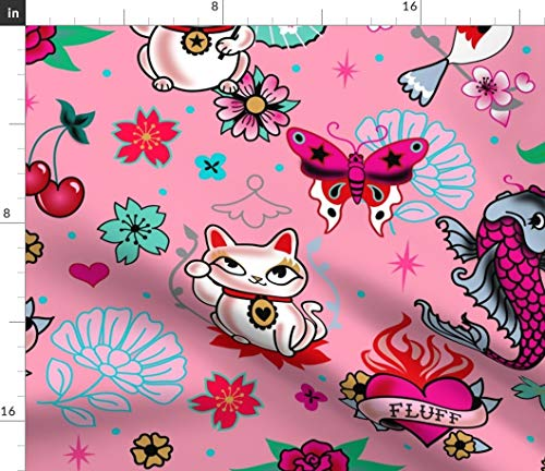 Spoonflower Cats Fabric - Cats Pink Cats Lucky Cat Maneki Neko Japanese Asian Inspired Cute Cats by Miss Fluff Printed on Performance Piqué Fabric by The Yard (Advantage Pique Knit)