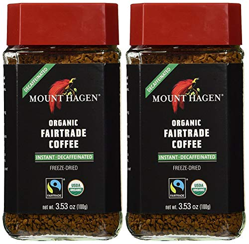 Mount Hagen Organic Coffee - Premium Cafe Decaffeinated Dark Ground 3.53 oz Instant Coffee Granules, Small Batch Roasted (Pack of 2)