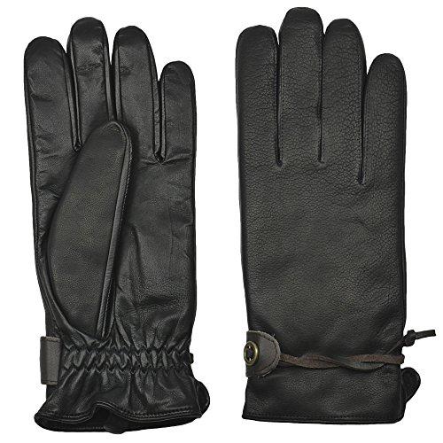 GRANDOE Men's CRAZY HORSE II Rugged Style Leather Glove (Black, Large)