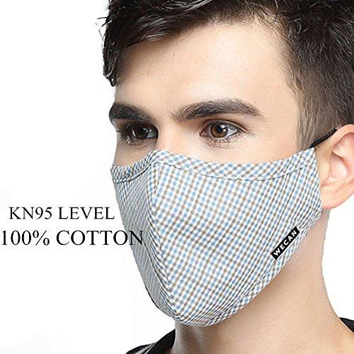 ZWZCYZ Masks Dust Mask Anti Pollution Mask PM2.5 4 Layer Activated Carbon Filter Insert Can Be Washed Reusable Masks Cotton Mouth Mask for Men Women (Large(Men's), Blue Coffee Grid) by ZWZCYZ