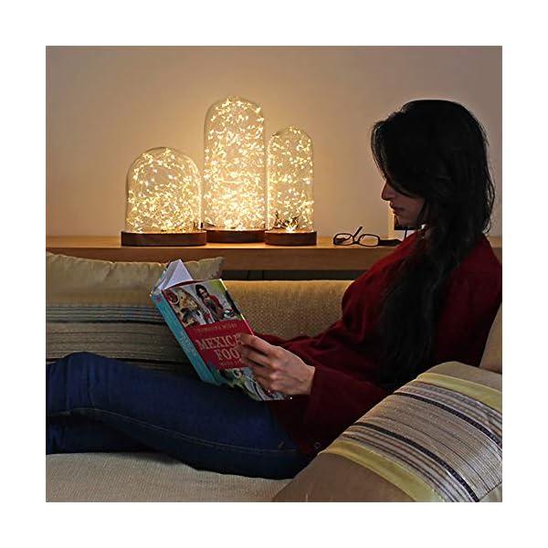 WEARXI Luci LED a Batteria - 10 Pezzi 2M 20LEDs Lucine Led Decorative, Filo Led con Batteria, Miniature Lamp per Camere, Tavolo Lungo, Feste, Giardino, Natalizie, Halloween, Matrimonio (Bianco Caldo) 6 spesavip