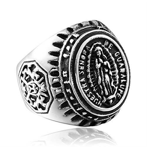 SAINTHERO Men's Vintage Gothic Stainless Steel Rings Virgin Mary Carved Punk Biker Rings Silver Size 10
