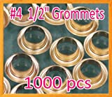 1000 #4 1/2'' Grommet and Washer Brass Eyelet for Grommets Machine Sign Punch Tool