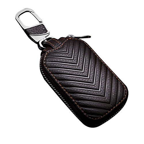 MoreFarther Leather Car Key Case Key Holder For Car Smart Key Chain Key Ring Coin Case Keychains for Car Keys Fasion Zipper Wallet Case for Auto Remote Key ( Brown S ) (Key Auto Ring Leather)