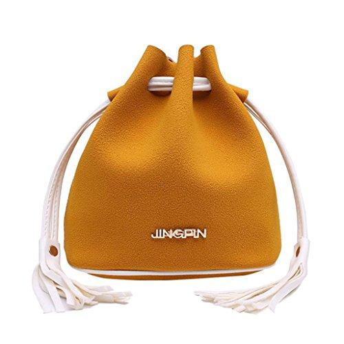 ESAILQ Cuero Bolso de Hombro Bolsa De Mochila Multiusos Baratos Para Movil Mujer Niñas C Amarillo