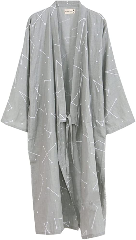Bata de algodón Japonesa para Hombre Bata de Kimono de Pijama ...