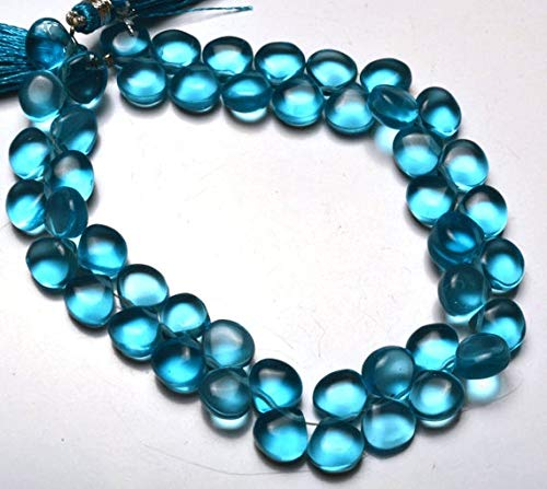 GemAbyss Beads Gemstone 1 Strand Natural Swiss Blue Topaz Color Hydro Quartz Smooth Heart Shape Briolettes Beads 8 Inch Long Full Strand Blue Color Super Fine Quality 8-9 MM Code-MVG-21652 ()