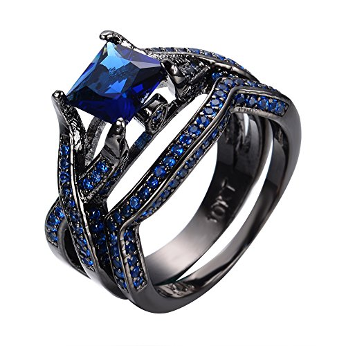 JunXin Jewelry Black Gold 88MM Square Sapphire Blue Birthstone Wedding Set Princess Cut Cross Band Size6/7/8/9/10