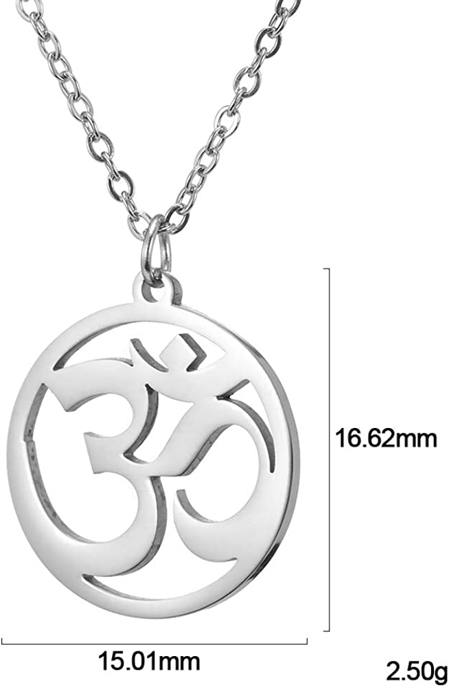fishhook Religious Om Aum Ohm Indian Yoga Balance of Life Symbol Stainless Steel Pendant Chain Necklace for Men Women Boys