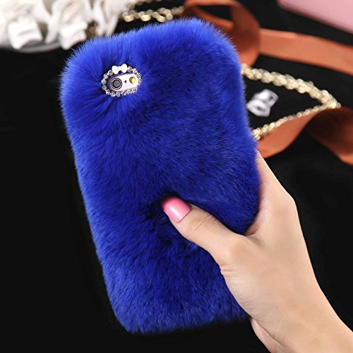 For Apple iPhone 6 6s 4.7'' Case, FLOVEME [Slim Fit] [Bling Diamond] Luxury Winter Soft Warm Faux Rabbit Fur Fuzzy Plush with Crystal Cute Bowknot Protective Back Cover for Girls Xmas Gift, Blue