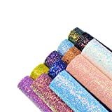 Faux Leather Chunky Glitter Canvas Sheets- 12 Pieces Assorted Colors A4 Size(8 X 12 Inch)Shiny Glitter Fabric Sheets for Bows, Earrings, Hair Accessories Making(12 Colors, Each Color One Sheet)