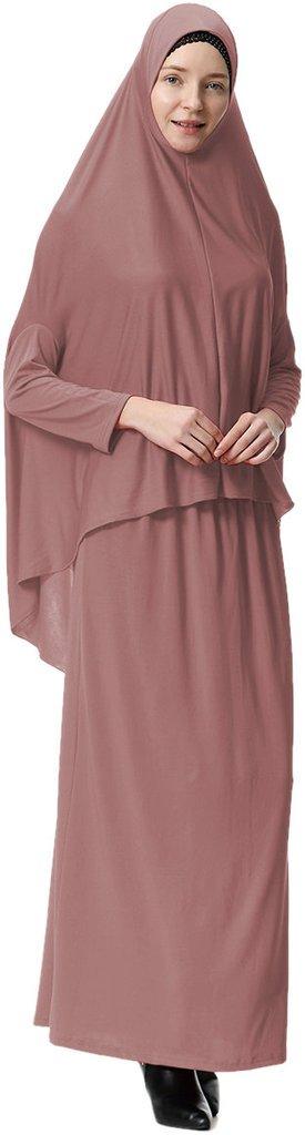 Ababalaya Women's Muslim Large Overhead Long Sleeve Hijab Abaya Prayer Dress for Hajj Umrah,Dark Pink,Tag XL=US Size 6-12