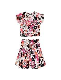 Kids Girls Floral Tropical Stylish Crop Top & Fashion Skater Skirt Set 7-13 Year