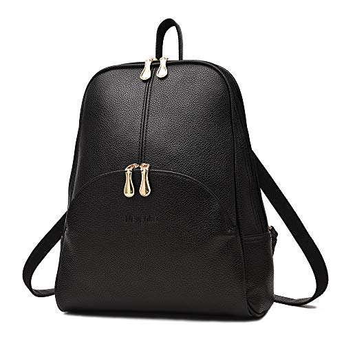 Nevenka Women Leather Backpack Bags Stylish Waterproof Daypack for Girls (Black)
