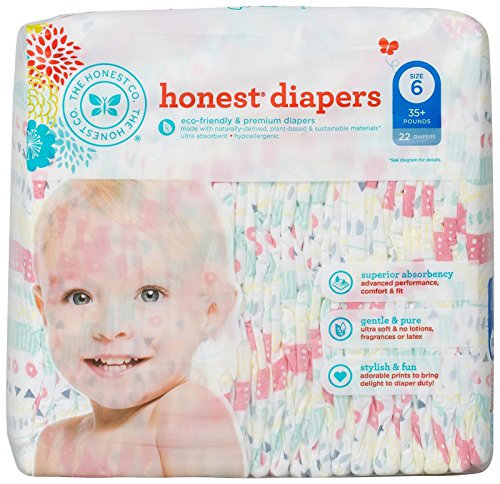 (The Honest Company Disposable Baby Diapers, Pastel Tribal, Size 6, 22 ct)