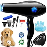 YLXD Dog Dryer Pet Hair Dryer Professional, Pet Supplies 2800w, Stepless Speed Dog Blaster Dryer Professional Dog Grooming Dryer Pet Hair Blower for Dogs and Cats, Blue Light (Black)