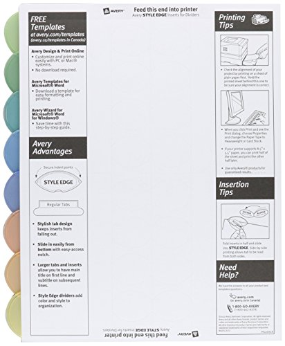 Avery 11201 insertable style edge tab plastic dividers 8 for Avery templates 11201